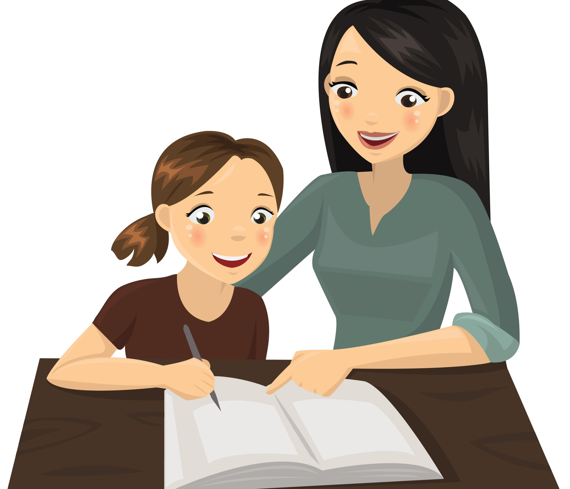 mum daughter homework cartoon